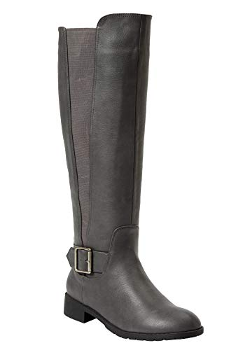 Comfortview Women's Plus Size The Milan Wide Calf Boot - Grey, 10 W