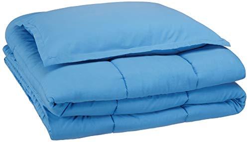 AmazonBasics Easy-Wash Microfiber Kid's Comforter and Pillow Sham Set - Twin, Azure Blue (Online Shopping Comforters)