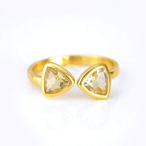 one Ring, November Birthstone Citrine Quartz Ring, Geometric Triangle Ring, 18K Vermeil Gold ring ()
