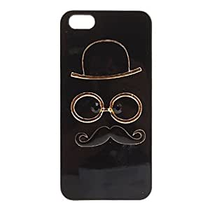 Lovely Cap and Glasses and Mustache Covered Hard Case for iPhone 5/5S , Black