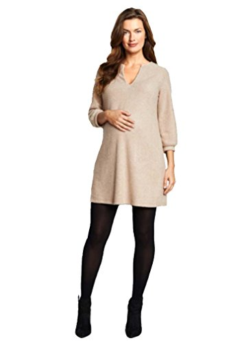 Maternal America A Line Maternity Shift Dress - Camel Sherpa - Medium