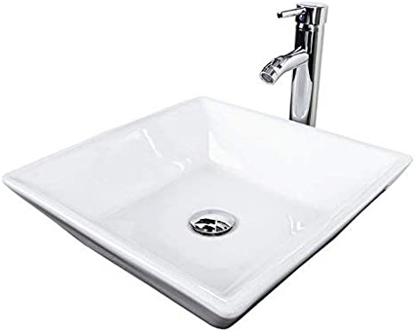 Bathroom White Ceramic Porcelain Vessel Vanity Sink Above Counter Bowl Sink for Lavatory Vanity Cabinet Contemporary Style
