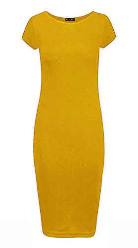 Clothings Femme Manches Jaune Trendy Courtes 40 Moulante Robe xXPaxndq