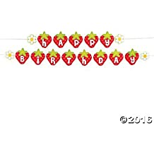 Strawberry Birthday Garland Banner - 6 ft