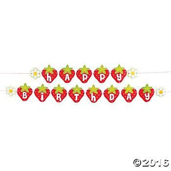 Strawberry Birthday Garland Banner - 6 ()