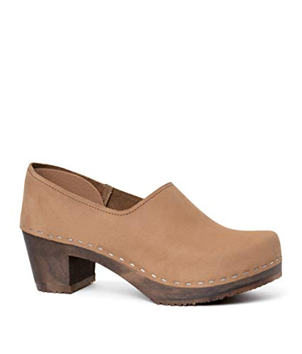 Dexter Leather Heels - Sandgrens Swedish High Heel Wooden Clogs for Women | Bridget in Dexter Tan, EU 41