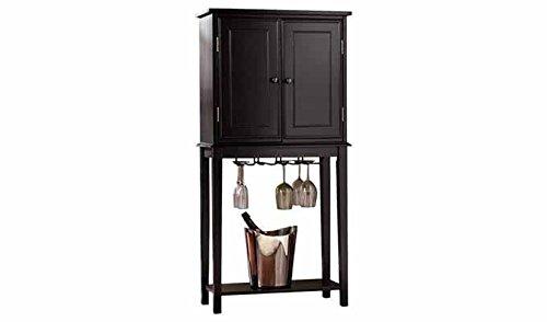 Aprodz Mango Wood Wine Storage Stylish Norcia Bar Cabinet for Living Room | Black Finish