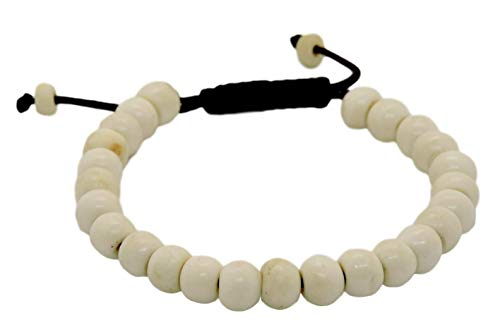 (Tibetan Mala Yak Bone Wrist Mala Bracelet for Meditation)