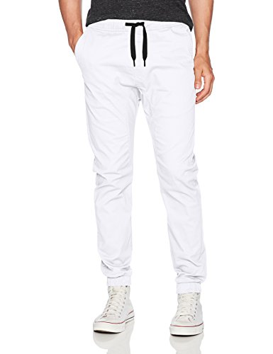 (WT02 Men's Jogger Pants in Basic Solid Colors and Stretch Twill Fabric, White(NEW), Small)