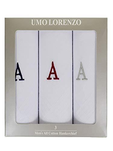 Men's 3 Pack 100% Cotton Monogrammed Handkerchiefs Initial Letter Hanky A
