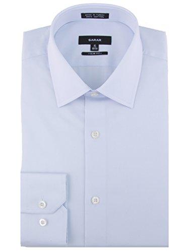 SARAR Men's 3 Pack Slim Fit Dress Shirt Point Collar Pocket Free Cotton Solid Barrel Cuff Blue Business Men by SARAR (Image #1)'