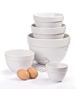 set of 5 white ceramic mixing bowls kitchen home. Black Bedroom Furniture Sets. Home Design Ideas