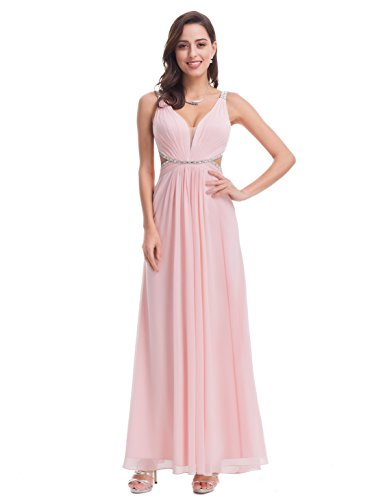 Ever-Pretty Womens Sexy Beaded Floor Length Prom Dress 4 US Pink