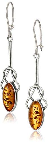 Sterling Silver Amber Celtic Knot Design Dangle Earrings