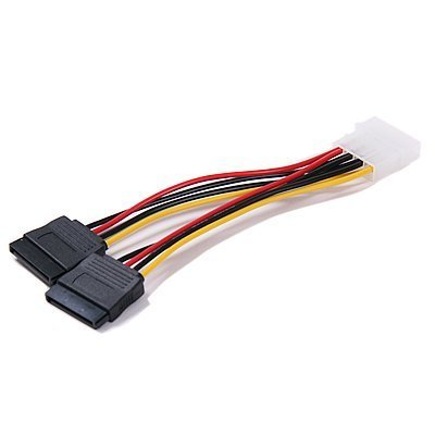 Molex 4 Pin to 2 x 15 Pin SATA Power Cable for IDE to Serial ATA SATA Hard Drive Power Cable Adapter