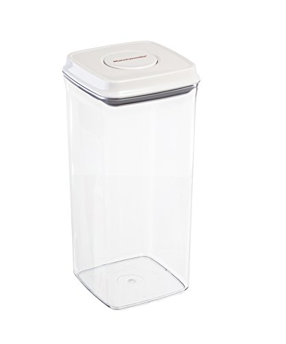 Food Storage Containers - Airtight Seals with Push Button - Nesting Stackable Plastic Kitchen and Pantry Container With Rubber Seal - 2.65 Quarts 85 oz - by Gee Gadgets