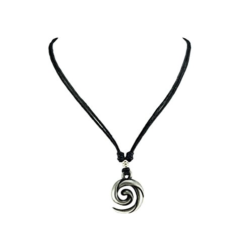 - BlueRica Koru Spiral Wave Pendant on Adjustable Black Rope Cord Necklace