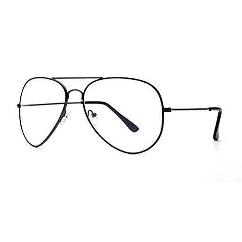 95e1b371c012 Metal Frame Clear lens Aviator Glasses Metal Vintage Retro Fashion Glasses  Eyewear Unisex (Black)  Amazon.co.uk  Clothing