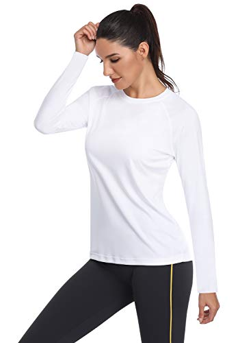 HISKYWIN Women's UPF 50+ Sun Protection Long/Short Sleeve Outdoor T-Shirt Athletic Top Rashguards HF109-White-L
