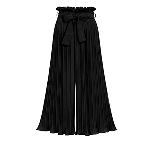 JOFOW Womens Wide Leg Pants Solid Long Casual Pleated Skirts Dress Pant High Waist Strappy Bowknot Loose Swing Trousers Gift (4XL,Black)