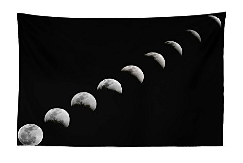 Lunarable Moon Phases Tapestry, Lunar Eclipse Changing Phase of The Moonstronomynd Universe Theme, Fabric Wall Hanging Decor for Bedroom Living Room Dorm, 45