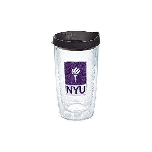 Tervis 1145843 New York University Emblem Individual Tumbler With Black Lid  16 Oz  Clear