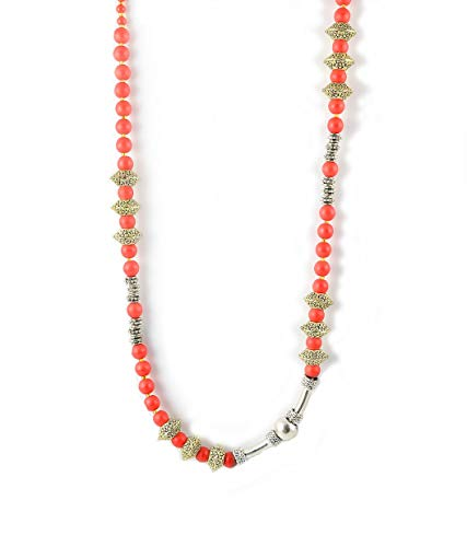 Red, Silver, Gold, Long Necklace with a Difference. One of a Kind