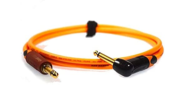 Pro Guitar Lead 1//4 6.35mm TS Right Angle Silent Jack to Jack Van Damme Cable