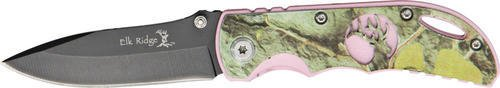 Elk Ridge - Outdoors Folding knife - 3.75-in Black Stainless Steel Blade, Camo Coated Pink Aluminum Handle, Pocket Clip - EDEC, Hunting, Camping, Survival - ER-134CA