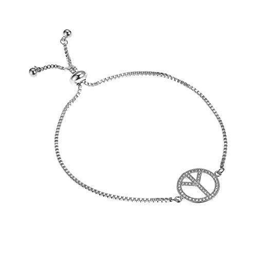 Supreme glory Peace Sign Charm Bracelet - CZ Adjustable Chain Bracelets Jewelry Birthday Gift for Women, Birthday