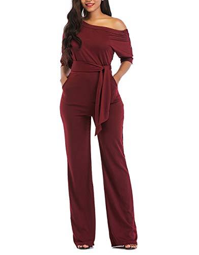 (Hestenve Women One Shoulder Half Sleeve Drawstring Boot Cut Pants Jumpsuit and Rompers (Large,)