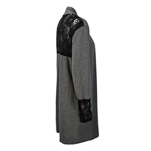 patchwork delante largo encaje de Internet larga ocasional abierta Elegante Abrigo remera manga larga flojo manga mujeres Gris Cordón las de de UwHqOg