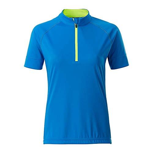 James and Nicholson Womens/Ladies Half Zip Bike T-Shirt (M) (Bright Blue/Bright Yellow)
