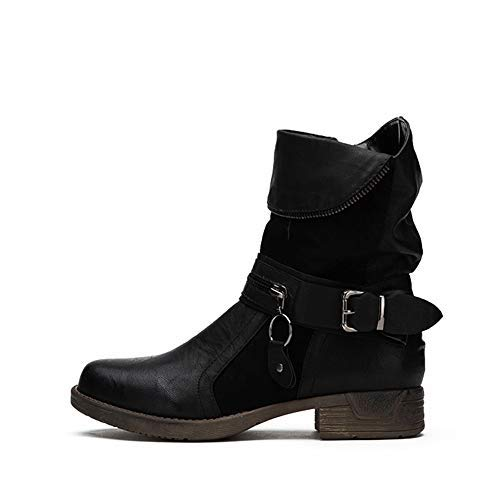 LALA IKAI Women Leather Combat Boots Low Heel Ankle Biker Boots with Side Zipper Casual Shoes Black (Boots Biker Women)