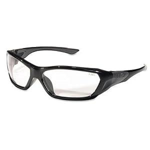 MCR SAFETY FF120 ForceFlex Safety Glasses, Black Frame, Clear Lens