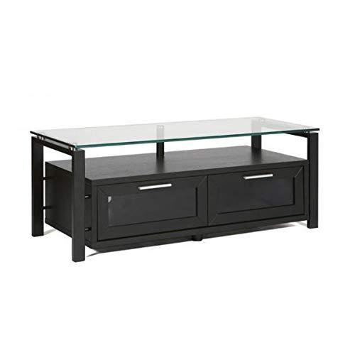 Plateau DECOR 50 BB Wood and Glass TV Stand, 50-Inch, Black Oak Finish -