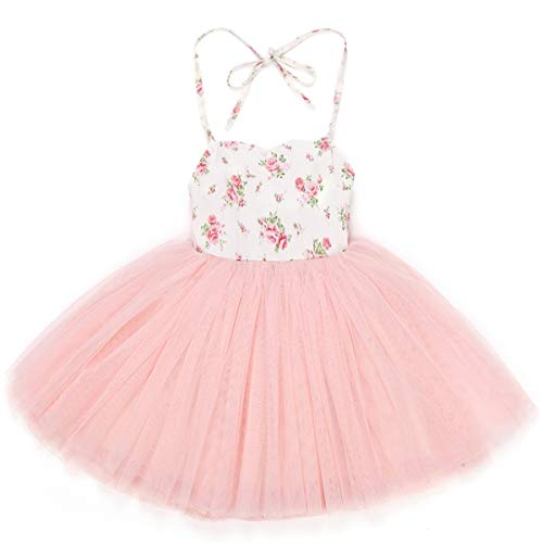 Flofallzique Pink Tutu Girls Dress Wedding Birthday Party Special Occasion Toddler Dress (Pink,4)