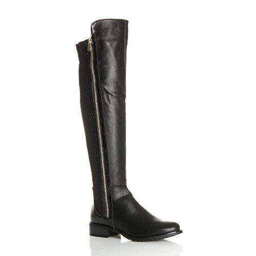 Ajvani Womens Ladies Low Block Heel Contrast Stretch Snake Gold Zip Knee high Over Knee Boots Size Black Matte NImES