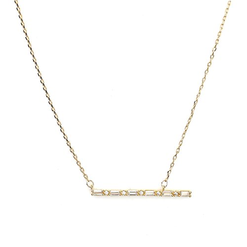 Sleek Gold Tone Designer Necklace with a Combination of Baguette & Brilliant Cut Swarovski Style Crystals (Gold Bar) (Brilliant Cut Designer Necklace)