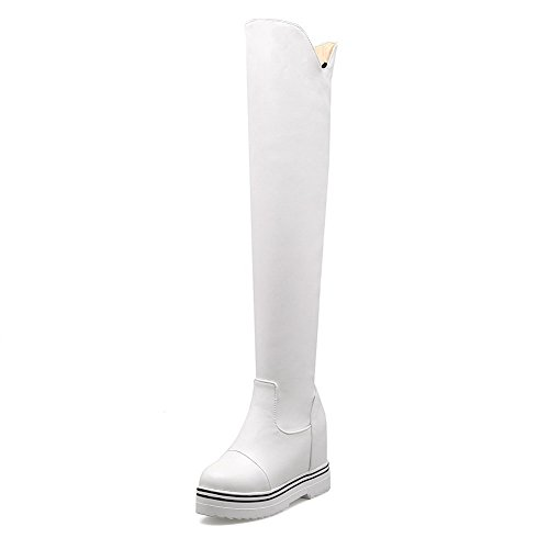 AgooLar Women's Solid High-Heels Round Closed Toe PU Pull-on Boots White ivgCU