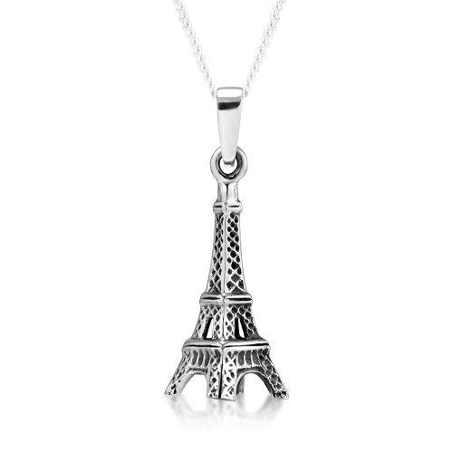925 Sterling Silver Paris Eiffel Tower Pendant Necklace, 18