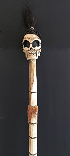 Wood Carved Skull Skeleton Walking Stick Cane Halloween Skull Staff - Huge XL Size - Top Quality - OMA Brand -