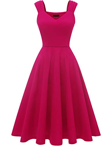 DRESSTELLS Women's Bridesmaid Vintage Tea Dress V-Neck Prom Party Swing Cocktail Dress Rose L