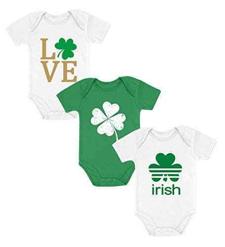 st. Patrick Day Baby Outfit - Set of 3 Irish Clover Bodysuit for Baby Boy/Girl Love White NB (0-3M) / Clover Green NB (0-3M) / Irish White 6M (3-6M)