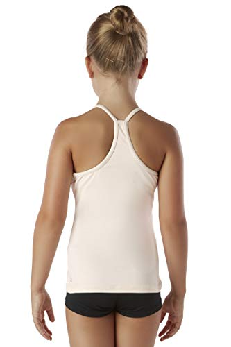 94959ad626 Liakada Girls Prima Elegant Macremé Racerback Tank Top with Integrated Bra  Shelf Liner Dance