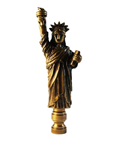 Lamp Finial-Statue of Liberty-Aged Brass Finish, Highly Detailed Metal Casting