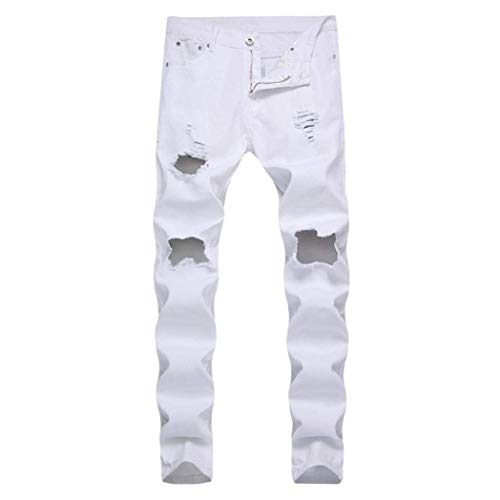 Fori Especial Jeans Destroyed Uomo Da Strappati Closura Estilo Pantaloni Slim Streetwear Denim Cher Moto Skinny Per Fit Bianca r8PrxY