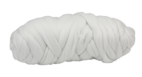FLORAVOGUE Polyester Super Chunky Yarn 70mm-2KG( 87 yards) Bulky Roving Solid ColorYarn (2KG, White) by FLORAVOGUE