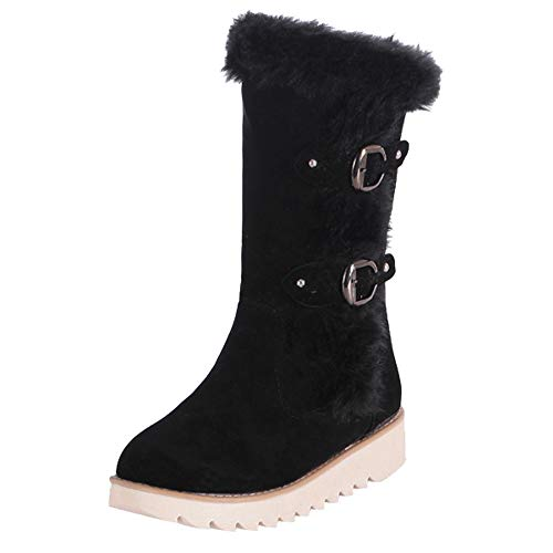 Mysky Women Retro Solid Suede Buckle Strap Flat Shoes Ladies Short Plush Keep Warm Middle Tube Snow Boots Black