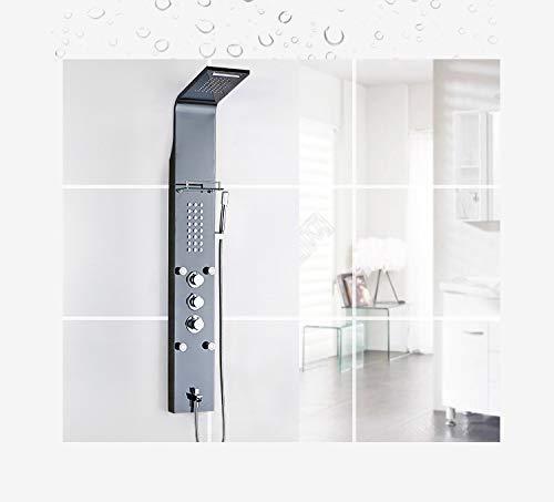 (WANNA.ME European Thermostatic Shower Panel Oil Rubbed Rain Shower Column Jets Sprayer Bathtub Spout Hand Black Shower Faucet Set)